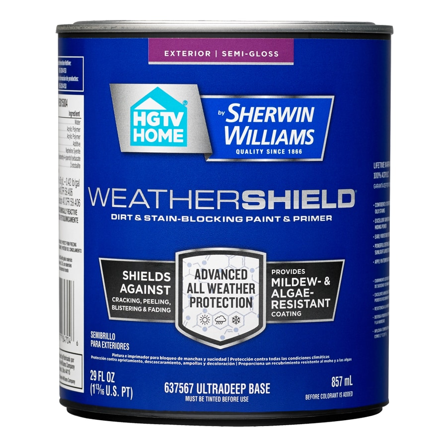 Shop Hgtv Home By Sherwin Williams Weathershield Semi Gloss Tintable Latex Exterior Paint