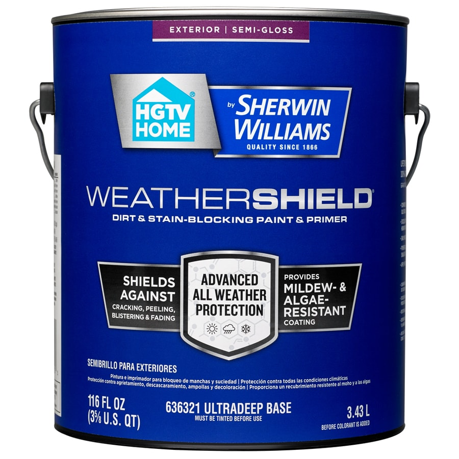 HGTV HOME by Sherwin-Williams Weathershield Tintable Semi-Gloss Acrylic Exterior Paint (Actual Net Contents: 116-fl oz)
