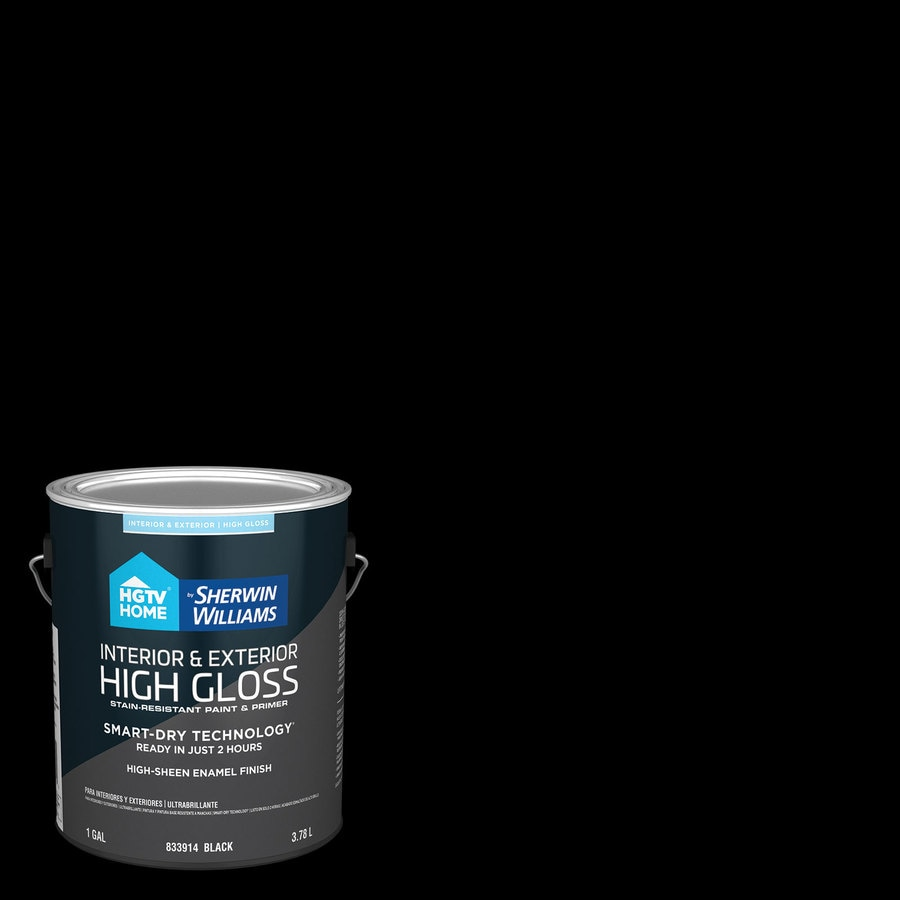 Shop hgtv home by sherwin williams door and trim high gloss black high gloss latex interior - High build exterior paint set ...