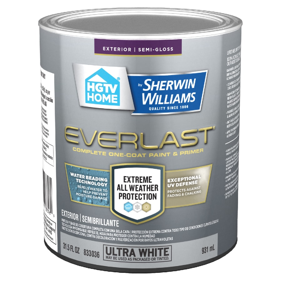 hgtv home by sherwin williams everlast semi gloss ultra white base 1