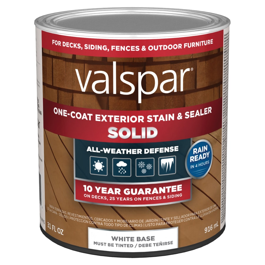 Valspar tintable white base solid exterior stain and sealer actual net contents 31 fl oz at for Lowes exterior stain and sealer