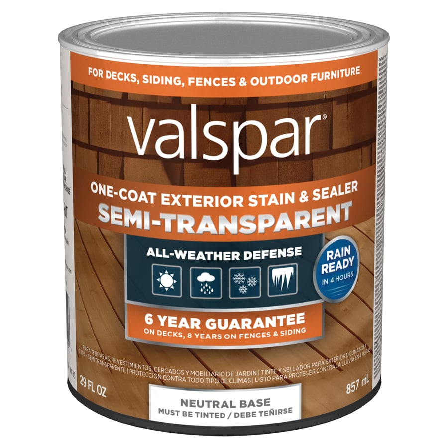 Shop valspar exterior stain and sealer tintable tint base semi transparent exterior stain for Lowes exterior stain and sealer