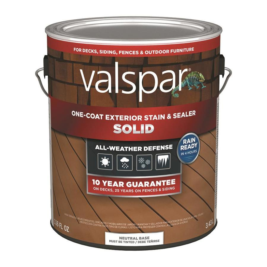 Valspar tintable neutral base solid exterior stain and sealer actual net contents 116 fl oz for Lowes exterior stain and sealer