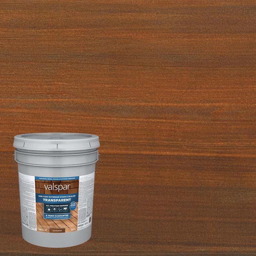 Shop valspar pre tinted canyon brown transparent exterior stain and sealer actual net contents for Lowes exterior stain and sealer