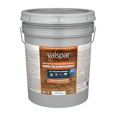 Valspar Tintable Neutral Base Semi-Transparent Exterior Stain and Sealer (5-Gallon)