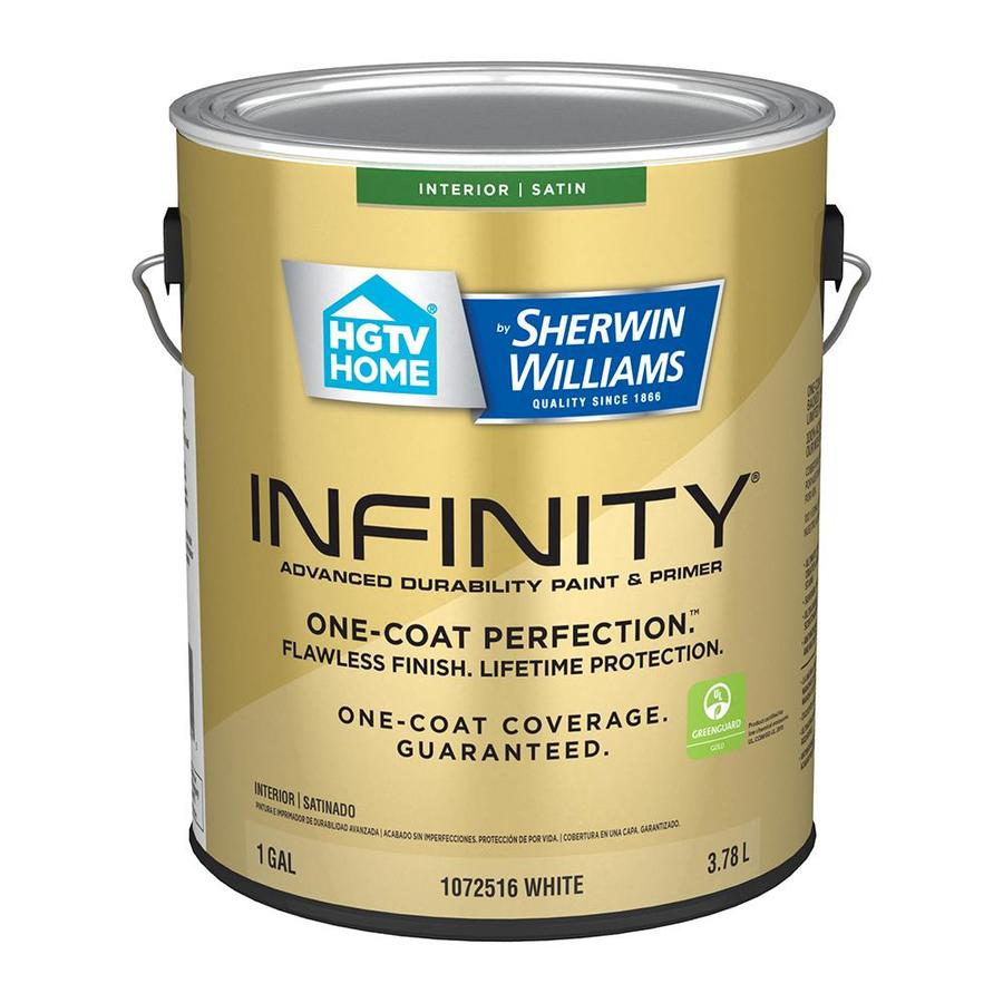 Hgtv Home By Sherwin Williams Infinity Satin White Latex Paint Actual Net Contents 128 Fl Oz