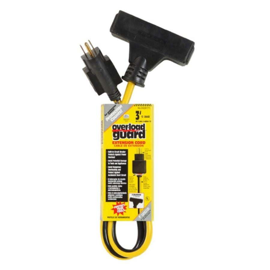 Over-Load Guard 3-ft 15-Amp 120-Volt 3-Outlet 12-Gauge Black/Yellow Outdoor Circuit Breaker And Adapters Extension Cord with Built-In Circuit Breaker