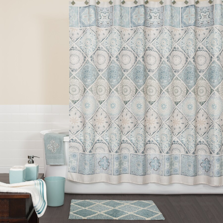 Saturday Knight Limited Modena Polyester Blue Patterneded Shower Curtain 72 In X