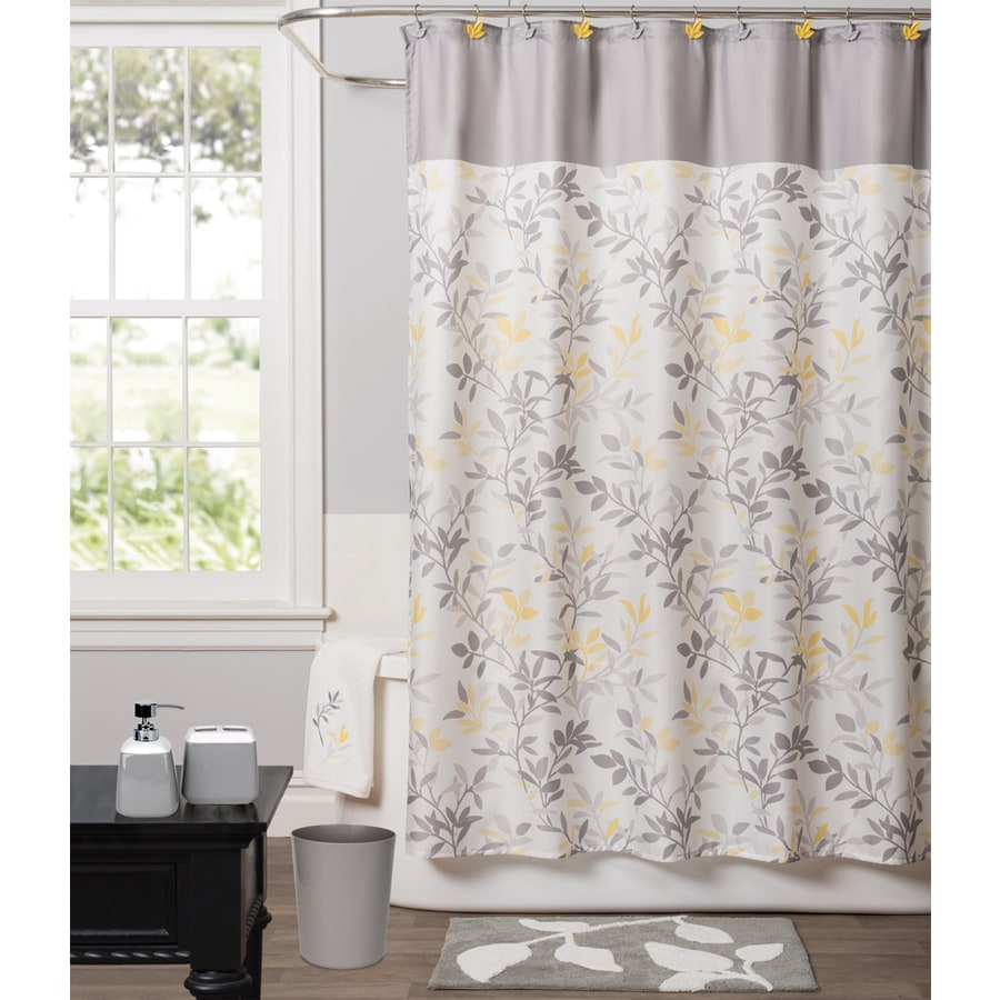 Saturday Knight Limited Trellis Polyester Yellow Patterned Shower Curtain