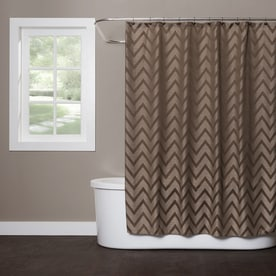 Saay Knight Limited Chevron Polyester Brown Patterneded Shower Curtain 72 In X