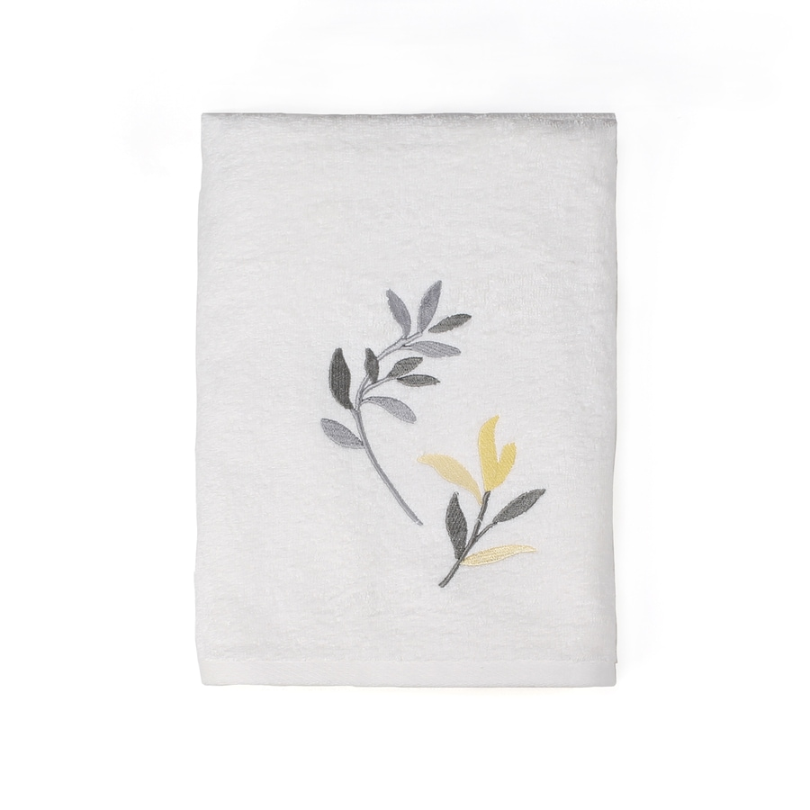 Saturday Knight Limited Trellis 24-in x 48-in Yellow and Gray Cotton Bath Towel