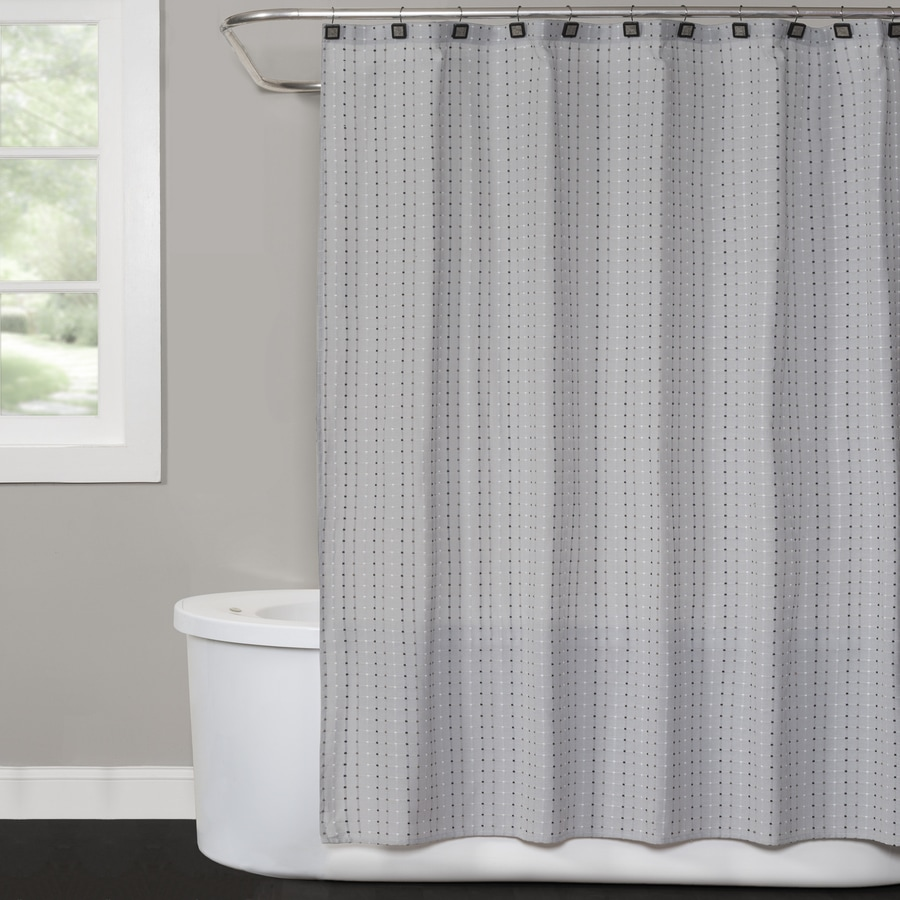 Saturday Knight Limited Hopscotch Polyester Gray Patterned Shower Curtain