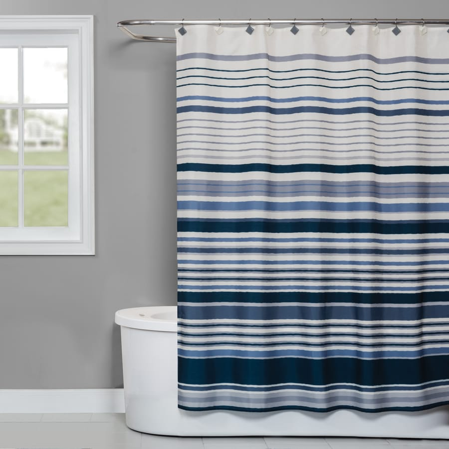 Saturday Knight Limited Cubes Stripe Polyester Blue Patterned Shower