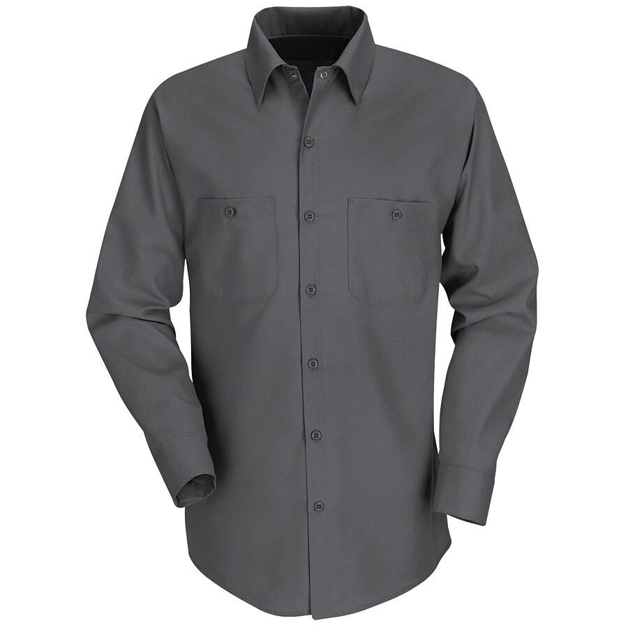 Red Kap Men's X-Large Charcoal Poplin Polyester Blend Long Sleeve Uniform Work Shirt