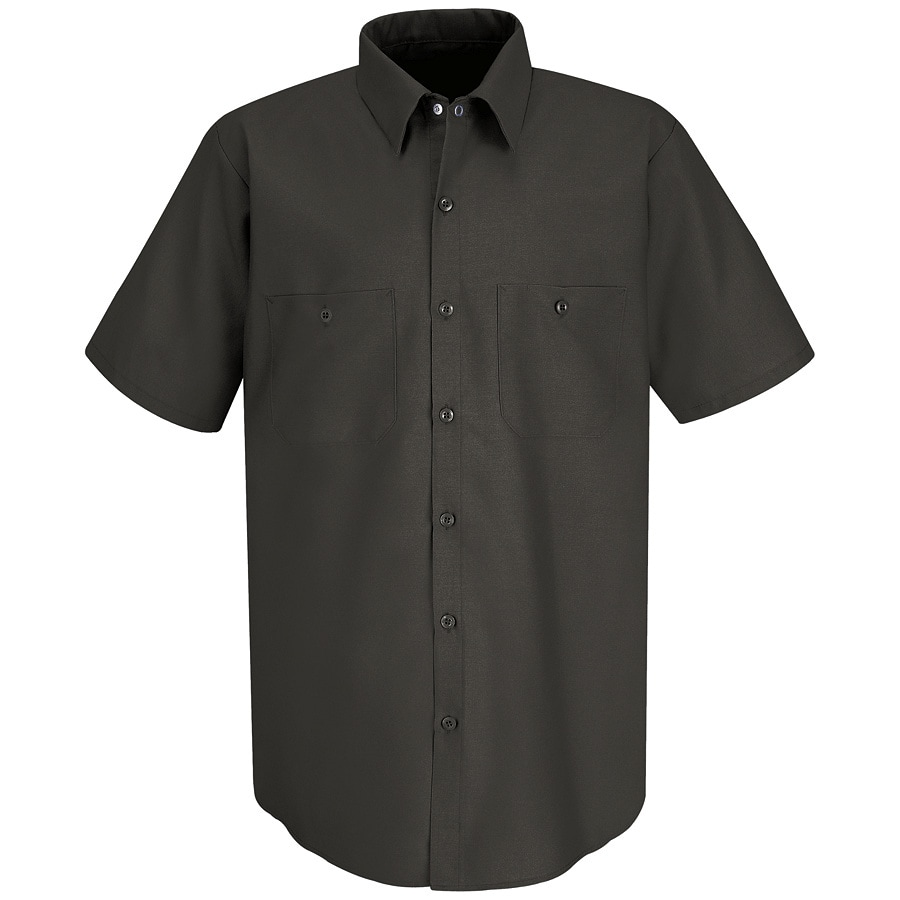 Red Kap Men's Large-Long Charcoal Poplin Polyester Blend Short Sleeve Uniform Work Shirt