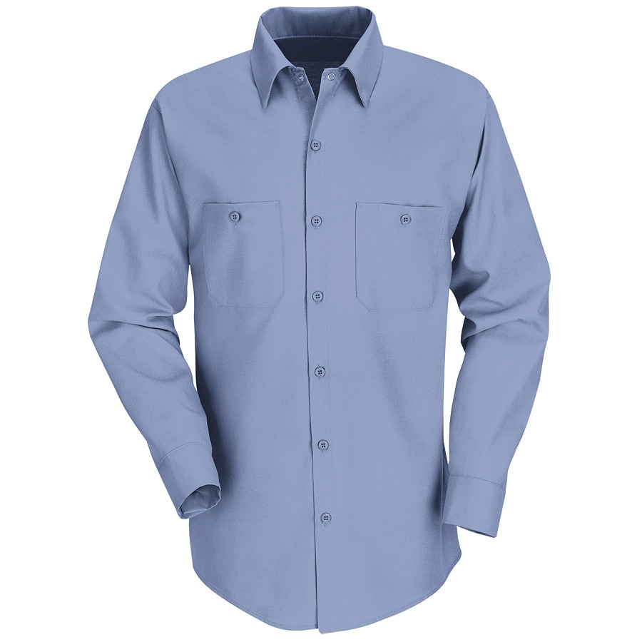 Red Kap Men's Large Light Blue Poplin Polyester Blend Long Sleeve Uniform Work Shirt