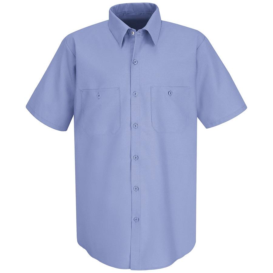 Red Kap Men's XL-Long Light Blue Poplin Polyester Blend Short Sleeve Uniform Work Shirt