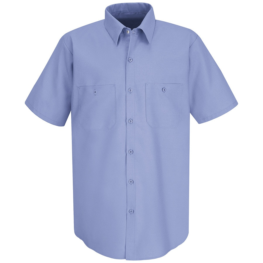 Red Kap Men's XXL-Long Light Blue Poplin Polyester Blend Short Sleeve Uniform Work Shirt
