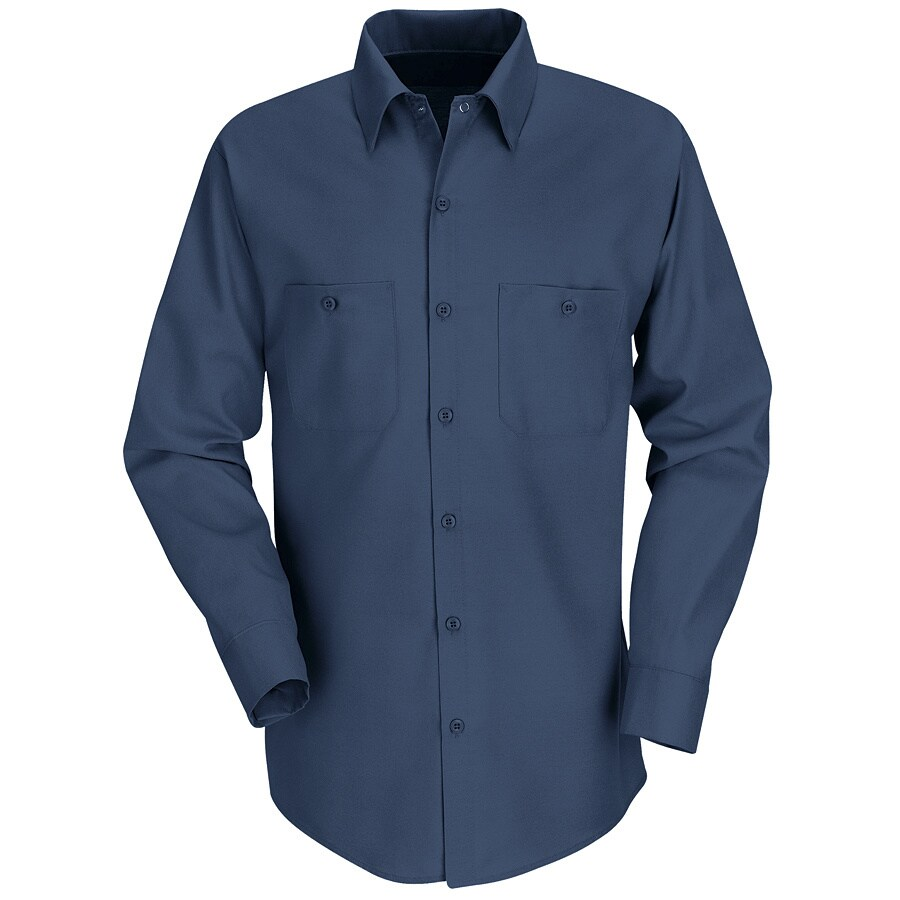 Red Kap Men's XX-Large Navy Poplin Polyester Blend Long Sleeve Uniform Work Shirt