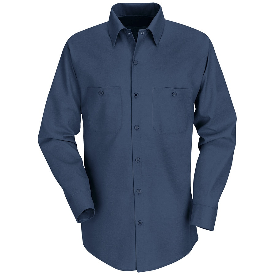 Red Kap Men's 6XL Navy Poplin Polyester Blend Long Sleeve Uniform Work Shirt