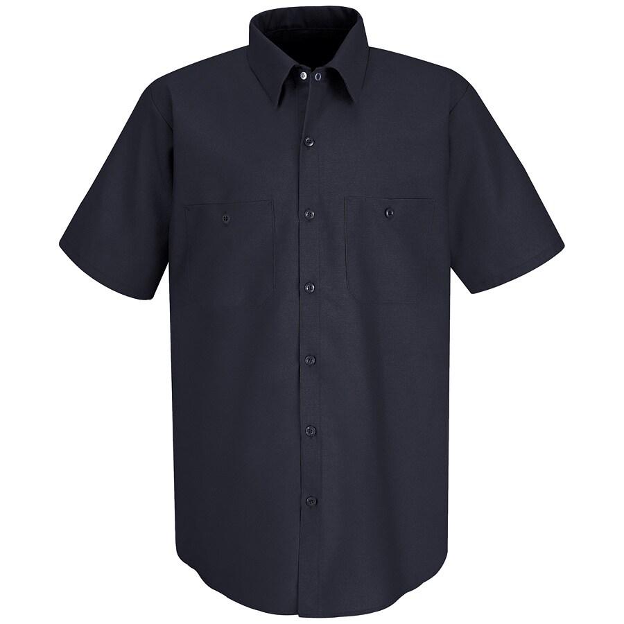 Red Kap Men's XXL-Long Navy Poplin Polyester Blend Short Sleeve Uniform Work Shirt