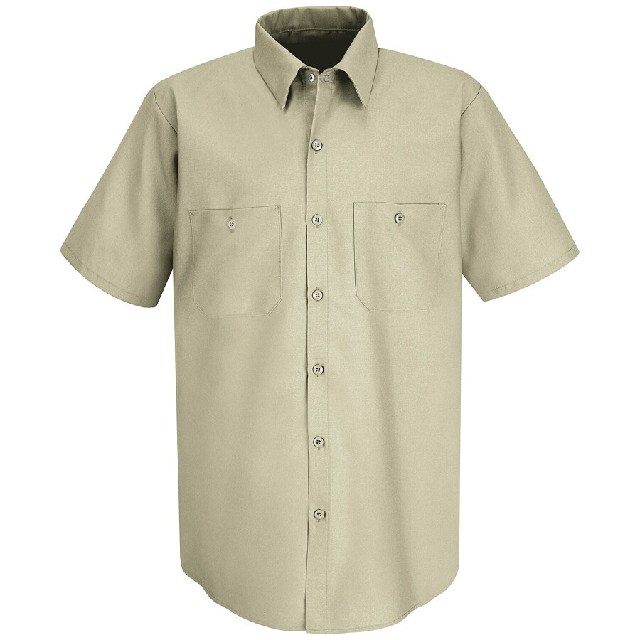 Red Kap Men's Large-Long Light Tan Poplin Polyester Blend Short Sleeve Uniform Work Shirt
