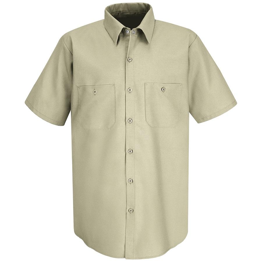 Red Kap Men's XL-Long Light Tan Poplin Polyester Blend Short Sleeve Uniform Work Shirt