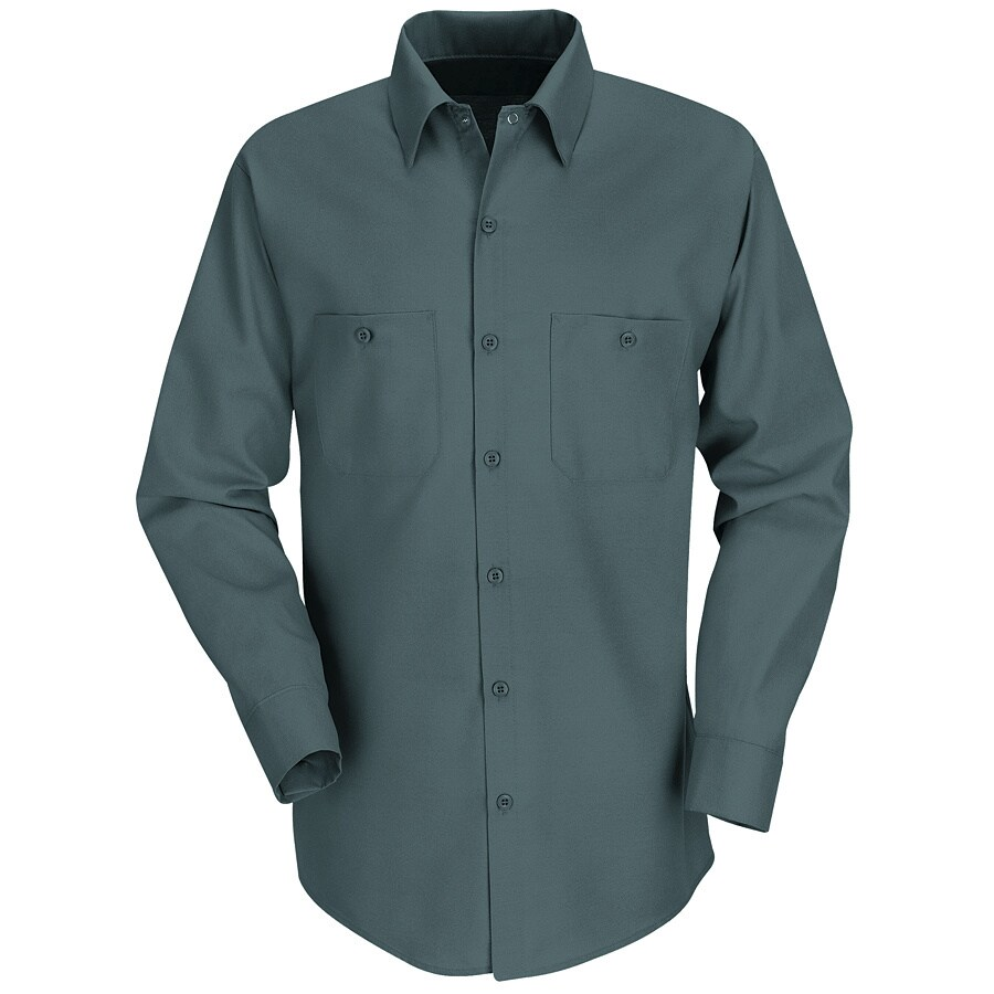 Red Kap Men's Medium Spruce Green Poplin Polyester Blend Long Sleeve Uniform Work Shirt
