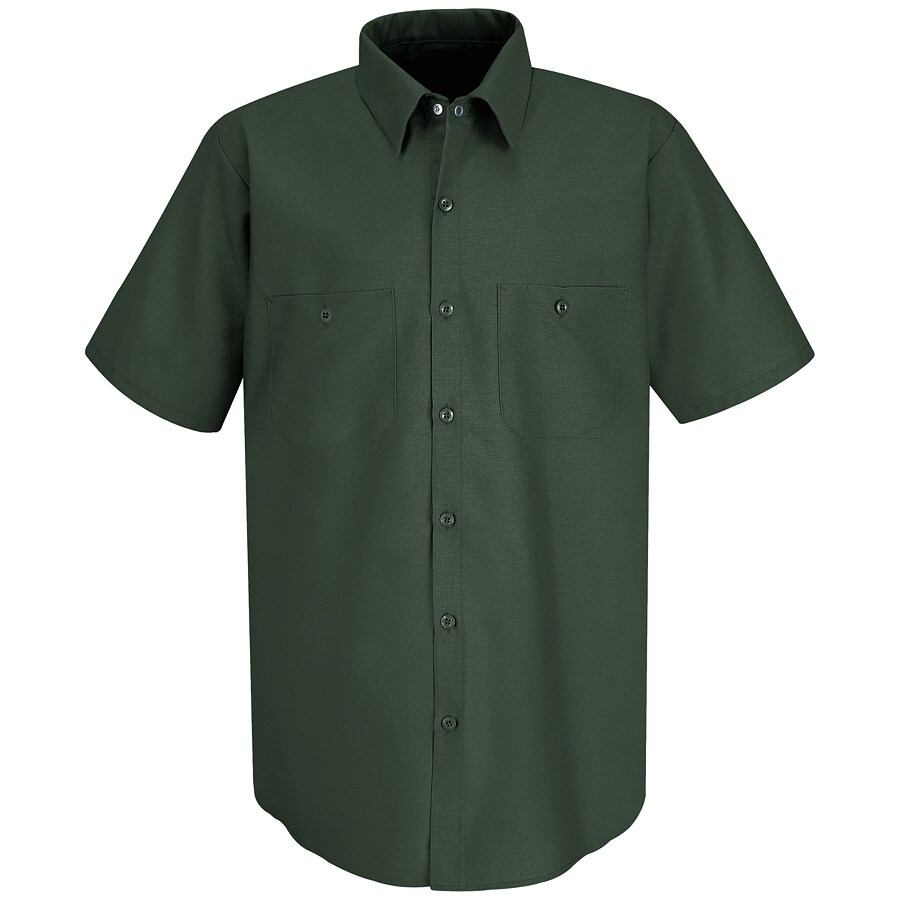 Red Kap Men's Large-Long Spruce Green Poplin Polyester Blend Short Sleeve Uniform Work Shirt