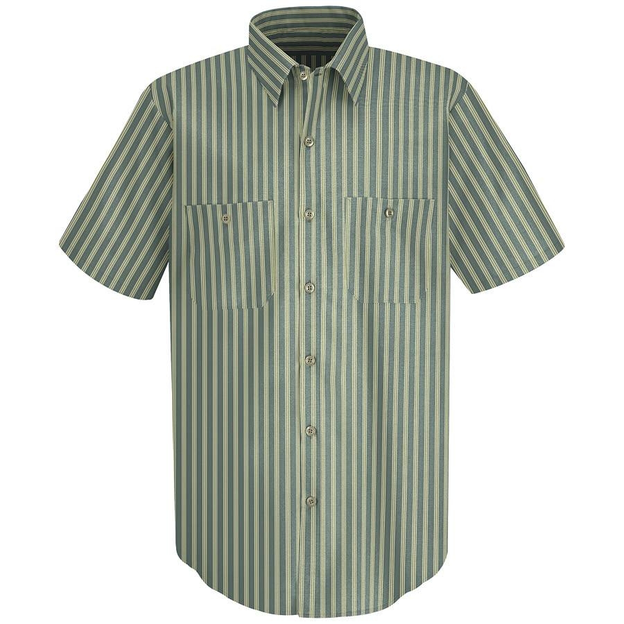 Red Kap Men's Medium Green Striped Poplin Polyester Blend Short Sleeve Uniform Work Shirt
