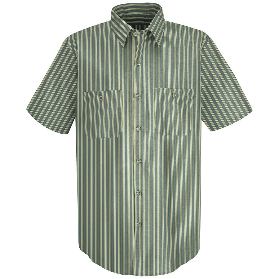 Red Kap Men's 3XL Green Striped Poplin Polyester Blend Short Sleeve Uniform Work Shirt