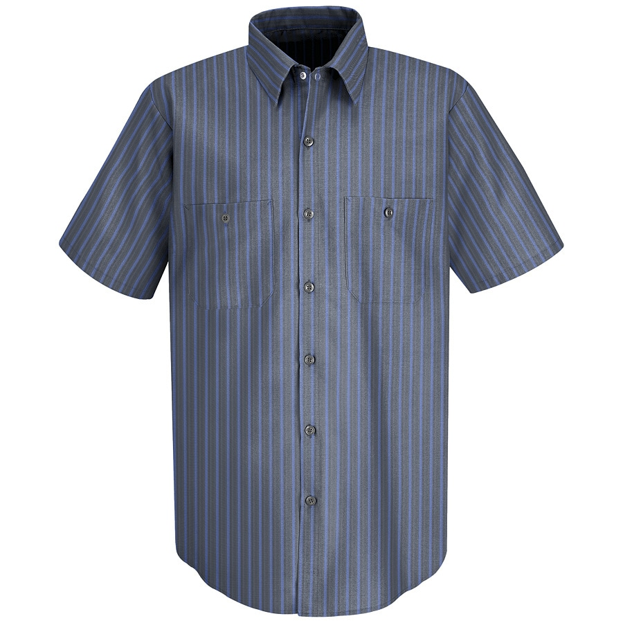 Red Kap Men's Medium-Long Grey/Blue Stripe Poplin Polyester Blend Short Sleeve Uniform Work Shirt