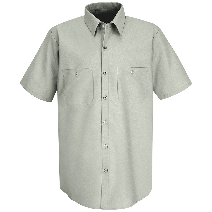 Red Kap Men's Large-Long Light Grey Poplin Polyester Blend Short Sleeve Uniform Work Shirt