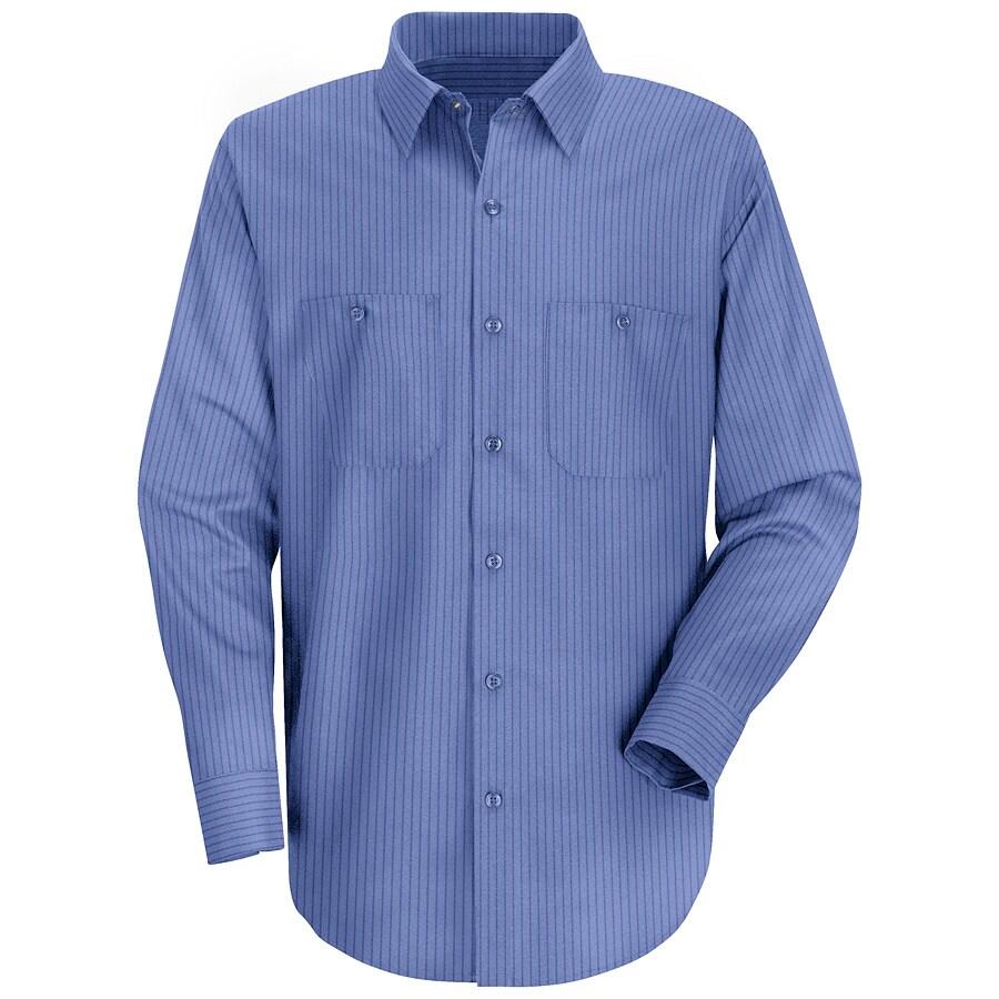 Red Kap Men's 5XL-Long Petrol Blue Stripe Poplin Polyester Blend Long Sleeve Uniform Work Shirt