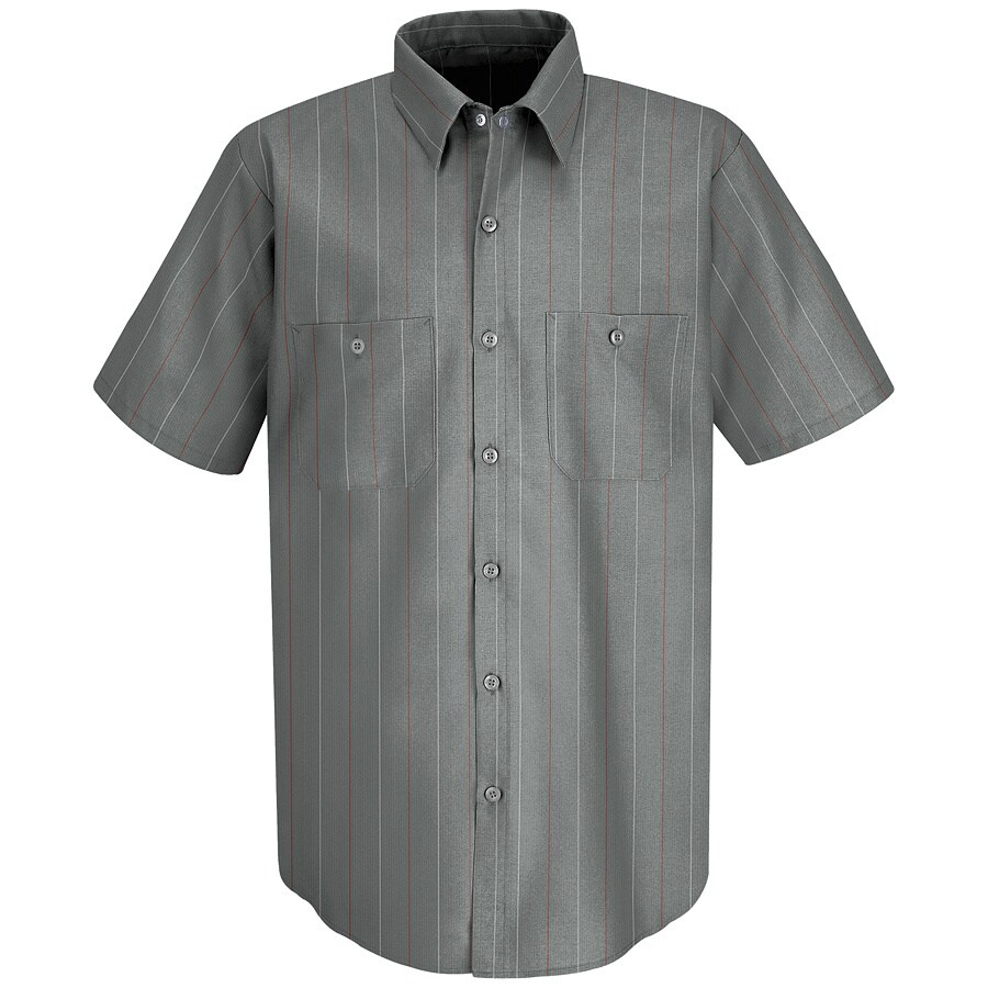 Red Kap Men's Large Charcoal Striped Poplin Polyester Blend Short Sleeve Uniform Work Shirt