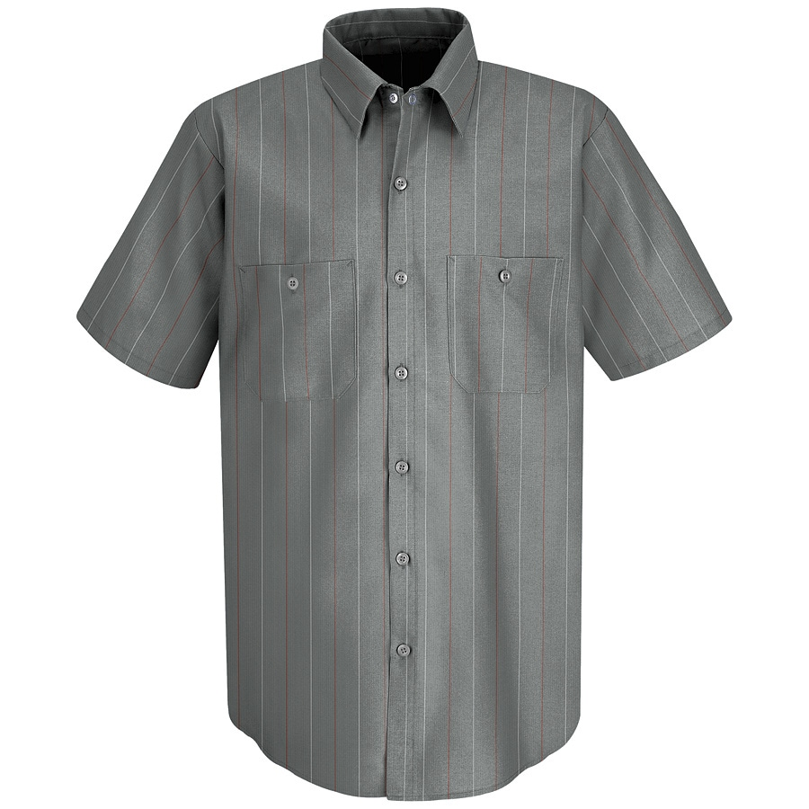 Red Kap Men's Small Charcoal Striped Poplin Polyester Blend Short Sleeve Uniform Work Shirt