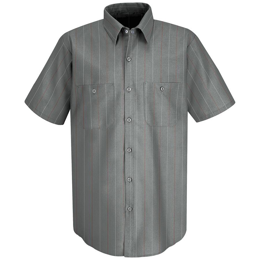 Red Kap Men's X-Large Charcoal Striped Poplin Polyester Blend Short Sleeve Uniform Work Shirt
