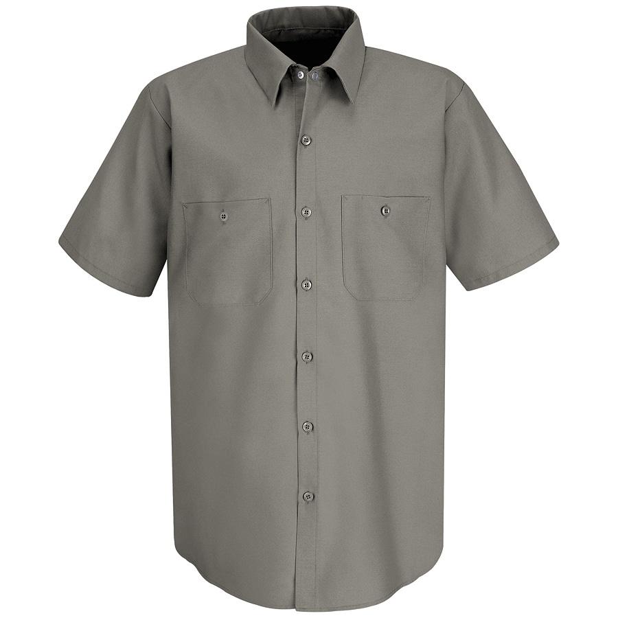Red Kap Men's Large Grey Poplin Polyester Blend Short Sleeve Uniform Work Shirt