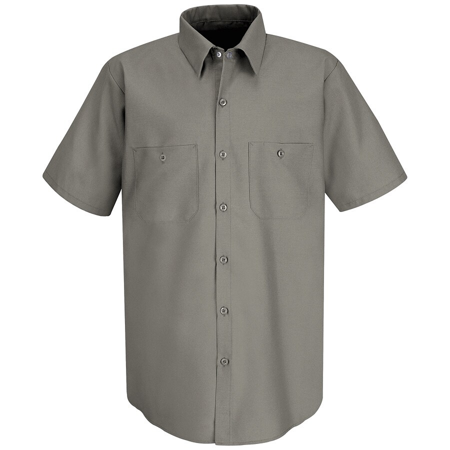 Red Kap Men's Medium Grey Poplin Polyester Blend Short Sleeve Uniform Work Shirt
