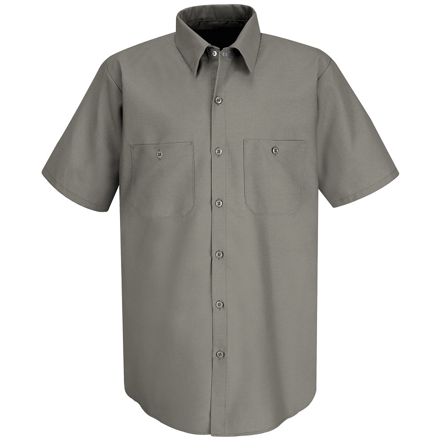 Red Kap Men's XXL-Long Grey Poplin Polyester Blend Short Sleeve Uniform Work Shirt