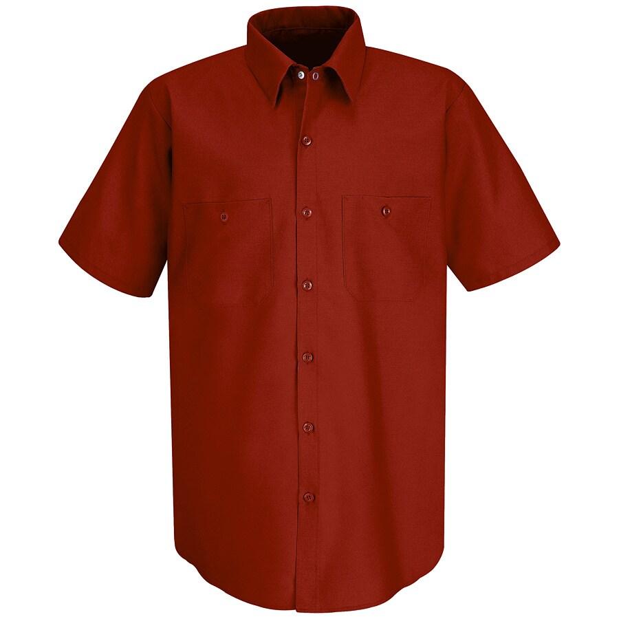 Red Kap Men's Large-Long Red Poplin Polyester Blend Short Sleeve Uniform Work Shirt
