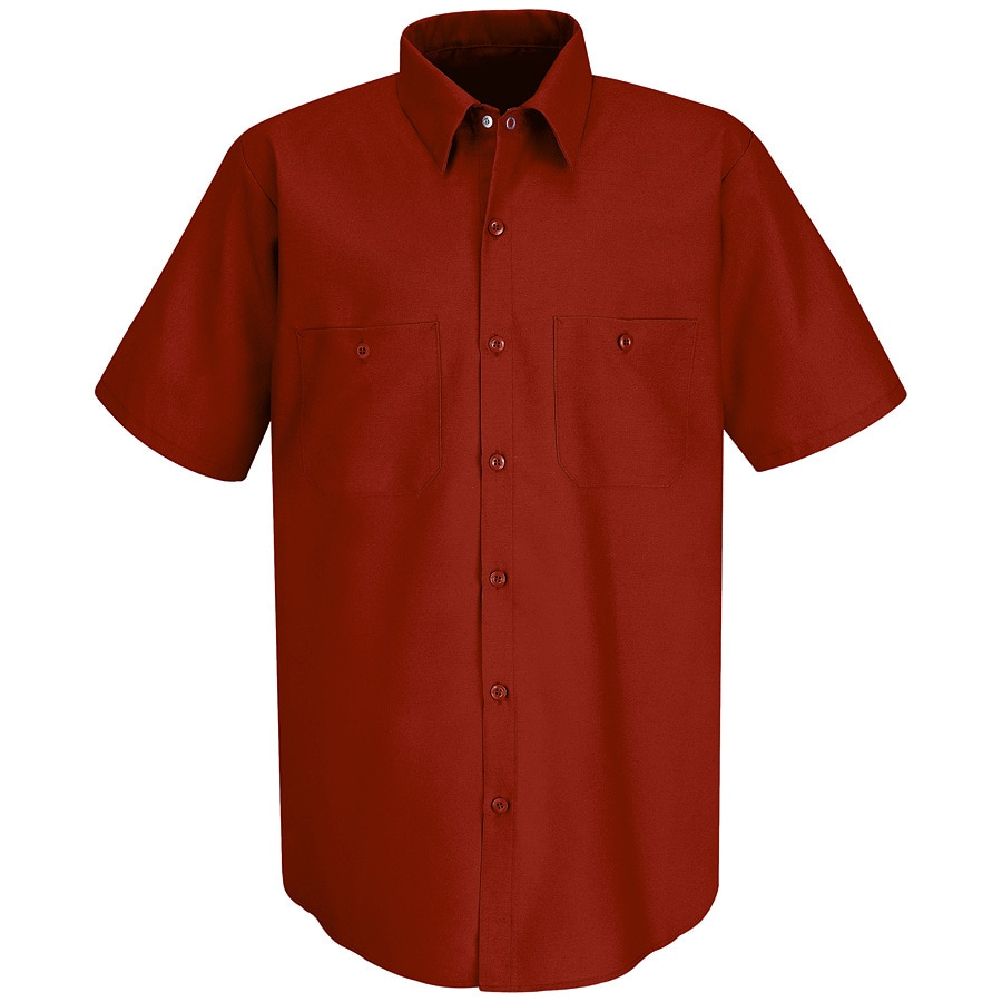 Red Kap Men's 4XL-Long Red Poplin Polyester Blend Short Sleeve Uniform Work Shirt