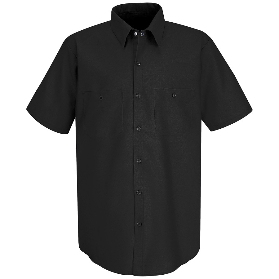 Red Kap Men's Large-Long Black Poplin Polyester Blend Short Sleeve Uniform Work Shirt
