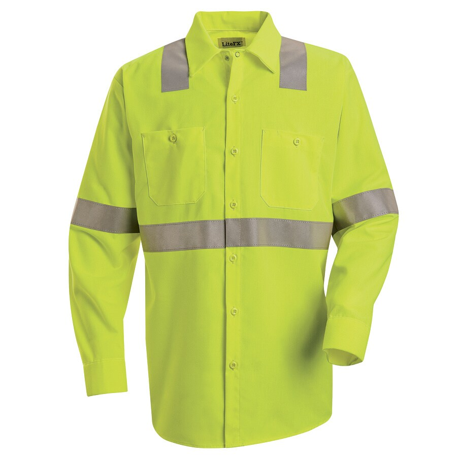 Red Kap Men's Large-Long Fluorescent Yellow Poplin Polyester Long Sleeve Uniform Work Shirt