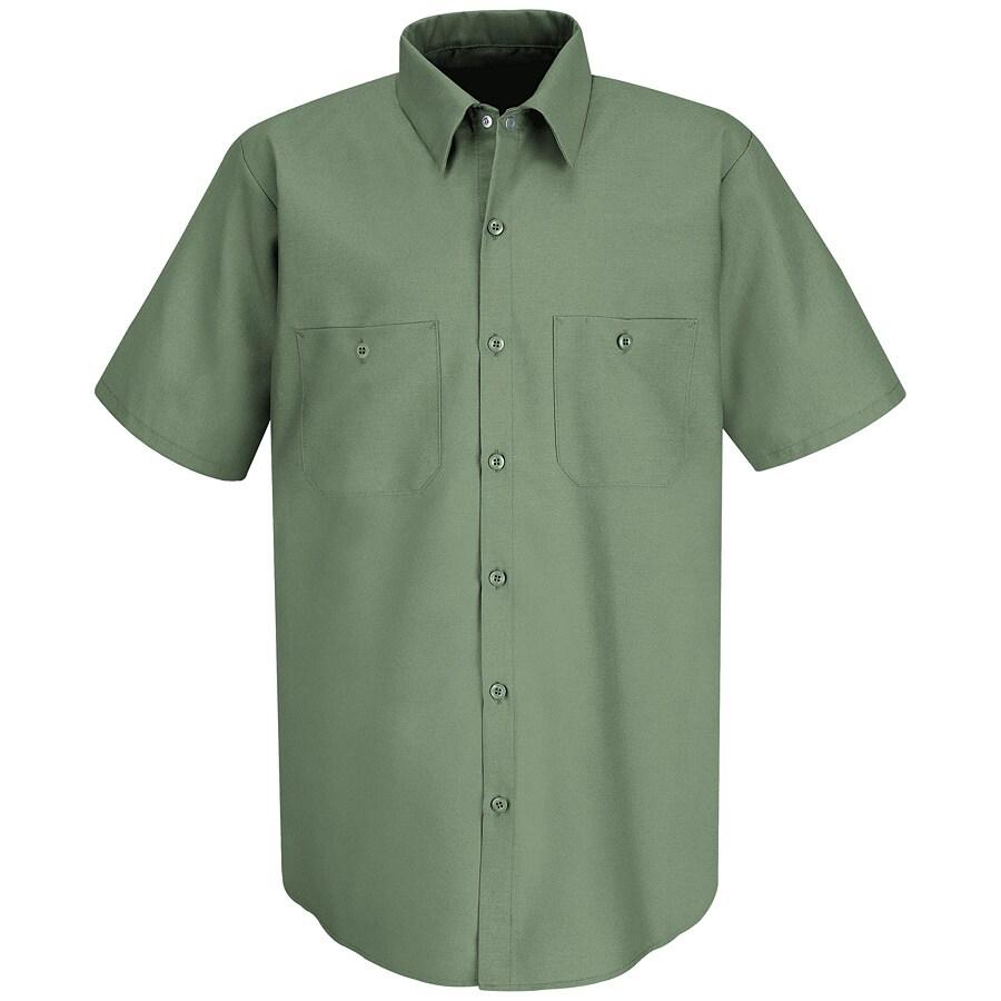 Red Kap Men's Large Light Green Poplin Polyester Blend Short Sleeve Uniform Work Shirt
