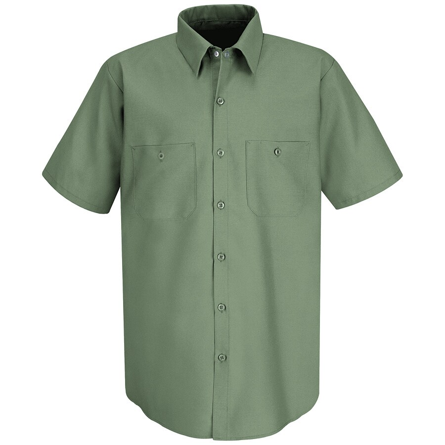 Red Kap Men's Large-Long Light Green Poplin Polyester Blend Short Sleeve Uniform Work Shirt