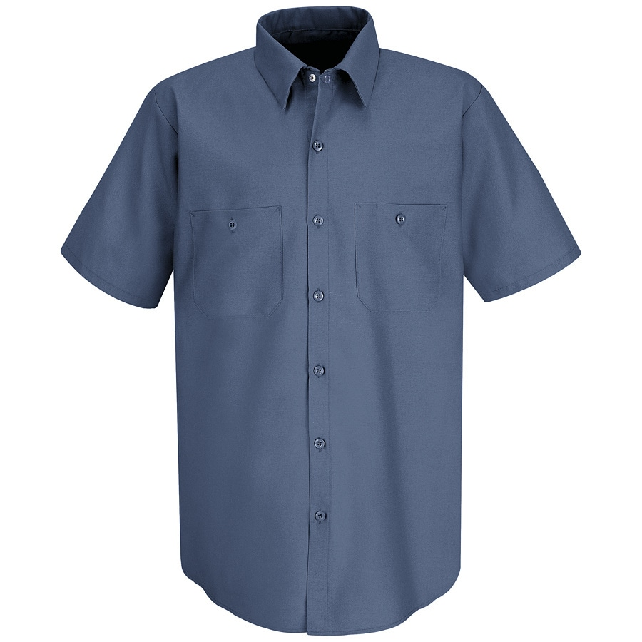 Red Kap Men's Large-Long Postman Blue Poplin Polyester Blend Short Sleeve Uniform Work Shirt