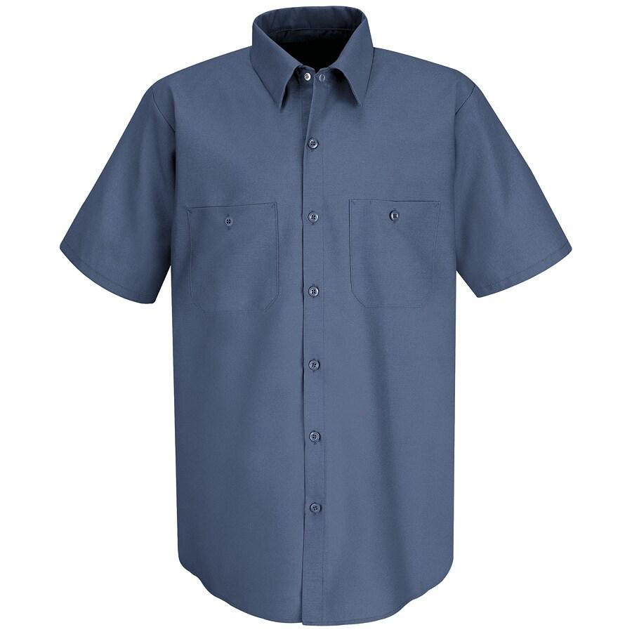 Red Kap Men's XXL-Long Postman Blue Poplin Polyester Blend Short Sleeve Uniform Work Shirt