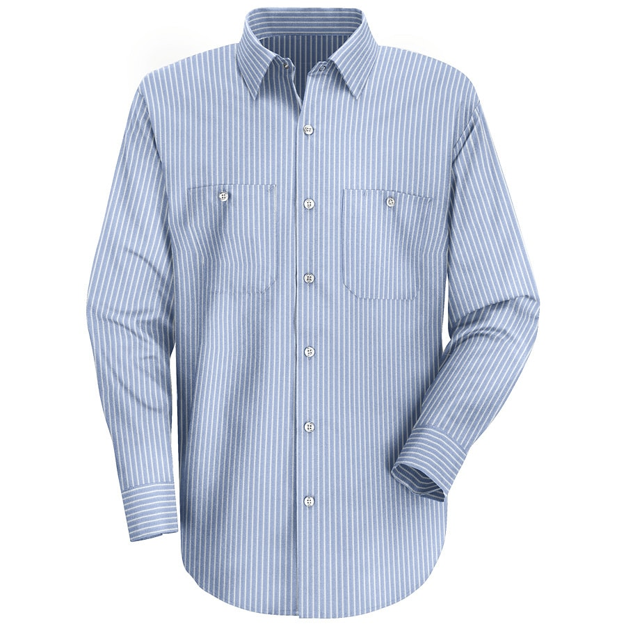 Red Kap Men's 5XL Blue Striped Poplin Polyester Blend Long Sleeve Uniform Work Shirt