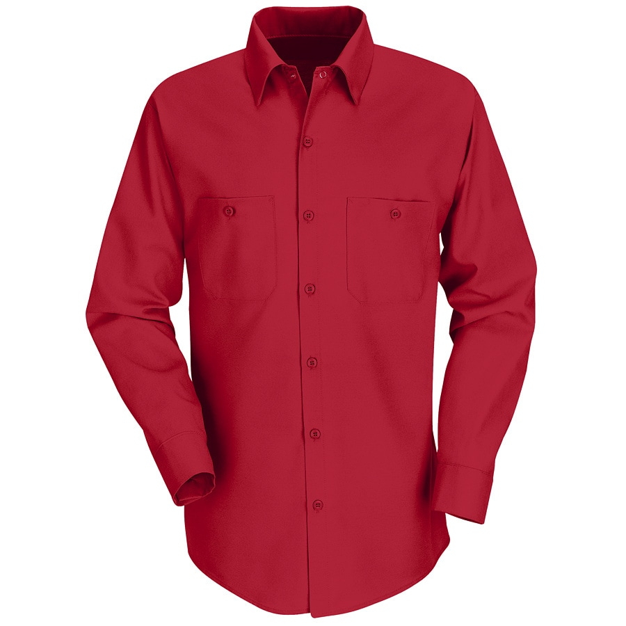 Red Kap Men's Medium Red Poplin Polyester Blend Long Sleeve Uniform Work Shirt